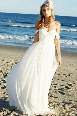 Elegant Off-the-Shoulder Wedding Dresses UK   Sheer Ruffles Sleeveless Floral Bridal Gowns_1