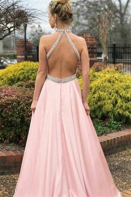 Sexy Pink Halter Crystal Open Back Prom Dress UKes UK Sleeveless Ruffles Elegant Evening Dress UKes UK with Sash_2