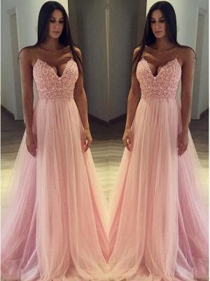 Pink Spaghetti Strap Applique Prom Dress UKes UK Sleeveless Tulle Sexy Elegant Evening Dress UKes UK_2