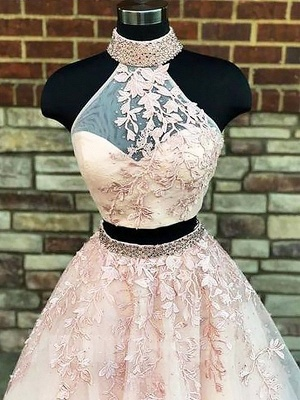 Sexy Halter Two Piece Lace Appliques Prom Dress UKes UK Lace Up Crystal Evening Dress UKes UK with Beads_3