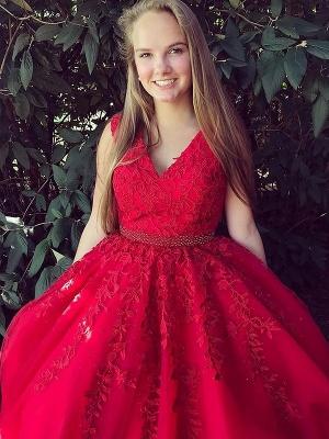 Fashion Red Elegant V-Neck Lace Appliques Prom Dress UKes UK Sleeveless Evening Dress UKes UK with Beads_1