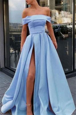 Sexy Off-the-Shoulder Ruffles Prom Dress UKes UK Side Slit Sleeveless Elegant Evening Dress UKes UK Sexy_1