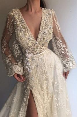 Chic V-Neck Side Slit Long Sleeve Evening Dresses | Lace Applique A-line Prom Dress UK_2