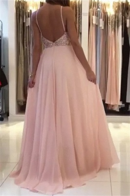 Romactic Pink Halter Applique Prom Dress UKes UK Sleeveless Open Back Elegant Evening Dress UKes UK With Crystal_2