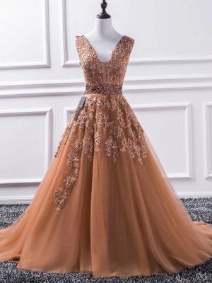 Sexy Elegant V-Neck Applique Crystal Prom Dress UKes UK Sleeveless Tulle Elegant Evening Dress UKes UK Sexy_4