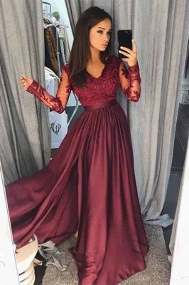 Maroon Burgundy Long Sleeve Prom Dress UK Lace With Split_2