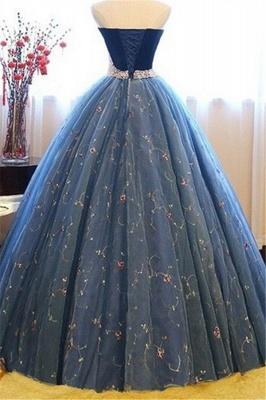 Sweetheart Lace Flower Crystal Prom Dress UKes UK Sleeveless Ball Gown Elegant Evening Dress UKes UK with Beads_4