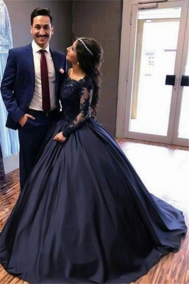Lace Lace Appliques Bateau Long Sleeves Prom Dress UKes UK Ball Gown Evening Dress UKes UK with Beads_5