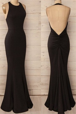 Black Halter Ruffles Prom Dress UKes UK Open Back Mermaid Sleeveless Evening Dress UKes UK_1