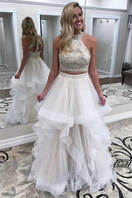 Beads halter Lace Appliques Prom Dress UKes UK Two Piece Tulle Sleeveless Evening Dress UKes UK_1