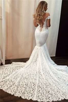 Lace Off-the-Shoulder Wedding Dresses UK Sexy Mermaid Sleeveless Floral Bridal Gowns_2