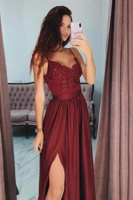 Lace Appliques Spaghetti-Strap Prom Dress UKes UK Side slit Sleeveless Evening Dress UKes UK with Beads_2