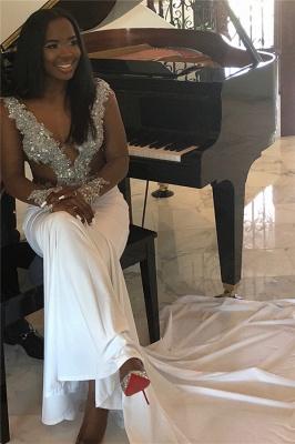 Elegant V-Neck Crystal Flower  Prom Dress UKes UK Mermaid Long Sleeves Evening Dress UKes UK_3