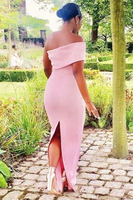 Off-the-shoulder Sexy Pink Floor Length Elegant Mermaid Bridesmaid Dress UKes UK_3
