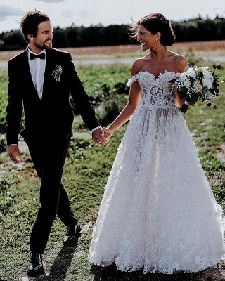 Flowers Off-the-Shoulder Wedding Dresses UK | Appliques Sheer Sleeveless Floral Bridal Gowns_4