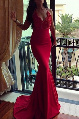 Red Halter Lace Appliques Sleeveless Prom Dress UKes UK Mermaid Evening Dress UKes UK with Beads_1
