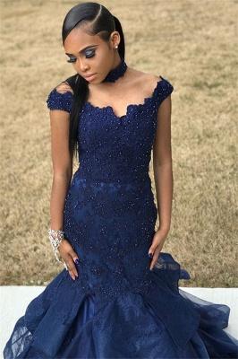 Navy Blue Off-The-Shoulder Beaded Lace Appliques Tulle Elegant Trumpt Prom Dress UKes UK UK_3