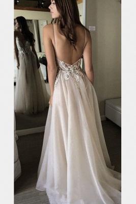 Sexy Lace Appliques Spaghetti-Strap Prom Dress UKes UK Backless Tulle Sleeveless Evening Dress UKes UK_2