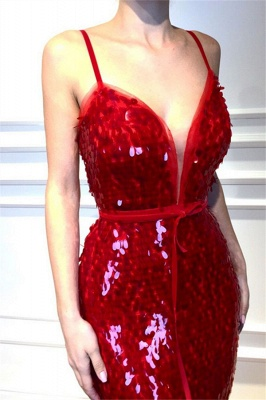 Red Spaghetti-Straps Sleeveless Sequins Elegant Trumpt Prom Dress UKes UK UK_3