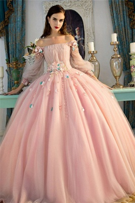 Sexy Flower Off-The-Shoulder Lace Appliques Prom Dress UKes UK Lace-Up Ball Gown Longsleeves Evening Dress UKes UK_1
