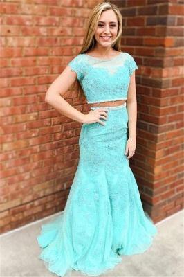 Sexy Jewel Lace Appliques Two Piece Prom Dress UKes UK Mermaid Sleeveless Evening Dress UKes UK_1