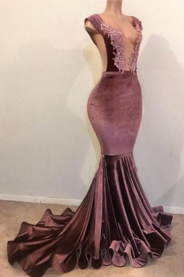 Elegant Mermaid without Sleeve Floor Length Lace Appliques Velvet Prom Dress UK UKes UK_2