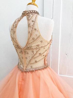 Sexy Crystal Halter Lace Appliques Prom Dress UKes UK Keyhole Ball Gown Sleeveless Evening Dress UKes UK with Beads_3