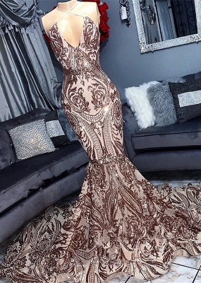 Alluring V-Neck Sequins without Sleeve Elegant Mermaid Floor Length Prom Dress UK UKes UK_2