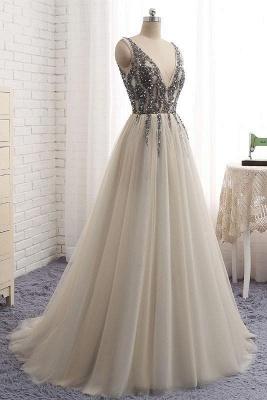 Sexy Elegant V-Neck Crystal Lace Appliques Prom Dress UKes UK Side slit Backless Sleeveless Evening Dress UKes UK_3