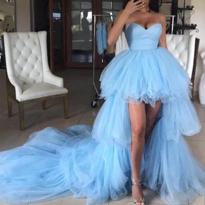 Sweetheart Overskirt Tired Prom Dress UKes UK Hi-Lo Sheer Sleeveless Evening Dress UKes UK_2