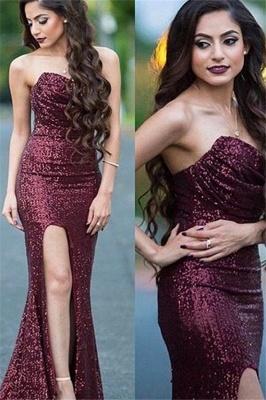 Burgundy Sequins Sweetheart Prom Dress UKes UK Mermaid Ruffles Elegant Evening Dress UKes UK_1