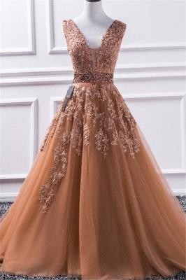 Sexy Elegant V-Neck Applique Crystal Prom Dress UKes UK Sleeveless Tulle Elegant Evening Dress UKes UK Sexy_1