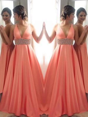 Crystal Elegant V-Neck Lace Prom Dress UKes UK Sleeveless Side Slit Tulle Elegant Evening Dress UKes UK_2