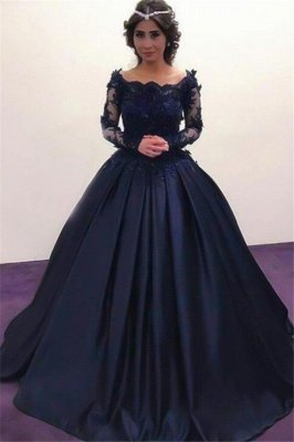 Lace Lace Appliques Bateau Long Sleeves Prom Dress UKes UK Ball Gown Evening Dress UKes UK with Beads_4