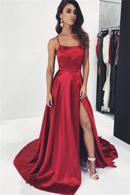 Elegant Trendy Burgundy Maroon Spaghetti-Straps Side-Split A-Line Prom Dress UK UK_1
