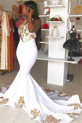 Halter Alluring V-Neck without Sleeve Gold Lace Appliques Prom Dress UK UK_2