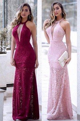 Halter Lace Mermaid Prom Dress UKes UK Sleeveless Keyhole Side Slit Elegant Evening Dress UKes UK_1