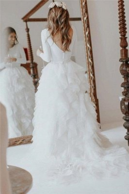 Elegant Applique Wedding Dresses UK Side slit Sexy Mermaid Sleeveless Floral Bridal Gowns_5