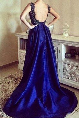 Royal Blue 3-D Flower Crystal Prom Dress UKes UK Hi-lo Open Back Elegant Evening Dress UKes UK with Beads_3