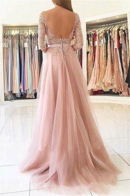 Sexy Lace Appliques Long Sleeves Prom Dress UKes UK Open Back Jewel Side Slit Evening Dress UKes UK with Sash_2