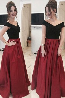 Black Off-the-Shoulder  Prom Dress UKes UK Applique Ruffles Mermaid Elegant Evening Dress UKes UK_2