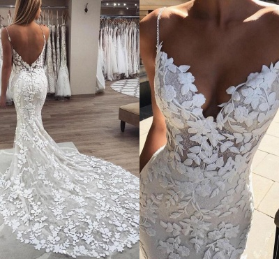 Applique Spaghetti-Strap Wedding Dresses UK Backless Sexy Mermaid Sleeveless Floral Bridal Gowns_2