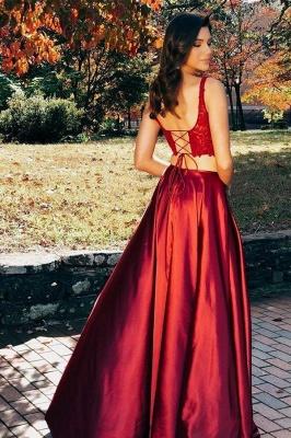 Lace Appliques Two Piece Scoop Prom Dress UKes UK Side slit Lace-Up Sleeveless Evening Dress UKes UK_3