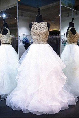 Lace Ruffle Ribbon Prom Dress UKes UK Tulle Sexy Sleeveless Evening Dress UKes UK_1