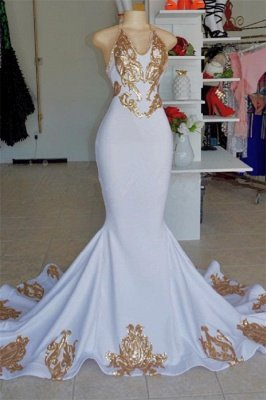 Halter Alluring V-Neck without Sleeve Gold Lace Appliques Prom Dress UK UK_1