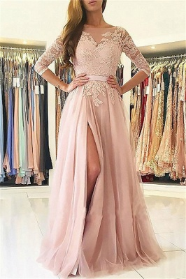Sexy Lace Appliques Long Sleeves Prom Dress UKes UK Open Back Jewel Side Slit Evening Dress UKes UK with Sash_1