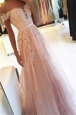 Pink Off-the-Shoulder Lace Appliques Prom Dress UKes UK Tulle Sleeveless Sexy Evening Dress UKes UK_1