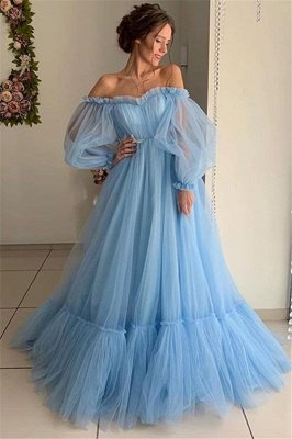 Amazing Off-The-Shoulder with Sleeves Sheer-Tulle A-Line Prom Dress UK UK_1