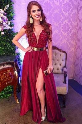 Simple Trendy Burgundy Maroon Straps Alluring V-Neck Applique Side-Split A-Line Prom Dress UK UK_1