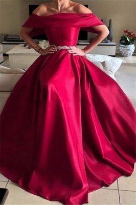 Sexy Off-the-Shoulder Ruffles Prom Dress UKes UK Sleeveless Elegant Evening Dress UKes UK with Sash_3